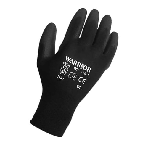 Warrior Black PU Gloves - 12 Pairs